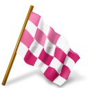 Chequered, Flag, Map, Marker, Pink, Right Icon