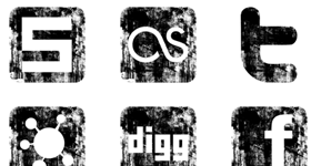 Grunge Social Media Icons