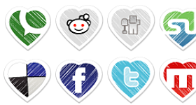 Valentines Special Social Bookmark Icon Set Icons
