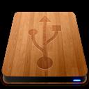 Drives, Slick, Usb, Wooden Icon