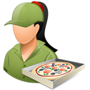 Female, Light, Pizzadeliveryman Icon