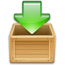Arrow, Box, Download, Green, Load, To, Wooden Icon