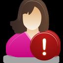 Female, User, Warning Icon