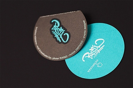 blue,brown,creative,round shaped,stylish business card