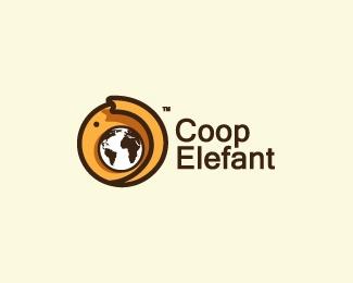 animal,elephant,globe,round,fancy logo