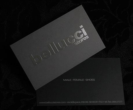 black,embossed,foil stamped business card
