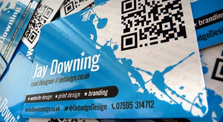 Debadge Design business card