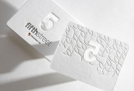 Beautiful White Letterpress business card