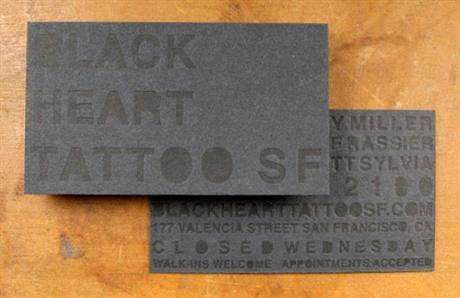 Black On Black Letterpress business card