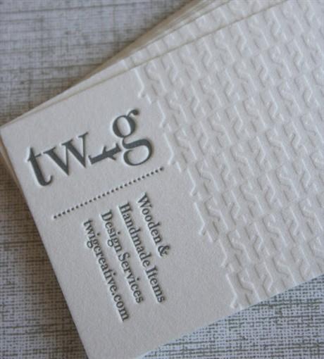 Clean White Letterpress business card