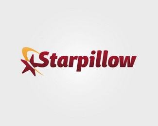 star,yellow,dark red,wordmark logo