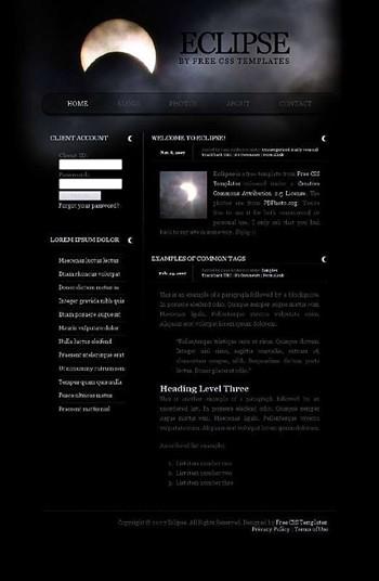 light,moon,night website template
